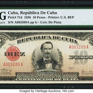 Cuba Republica de Cuba 10 Pesos 1938 Pick 71d PMG About Uncirculated 55. ...