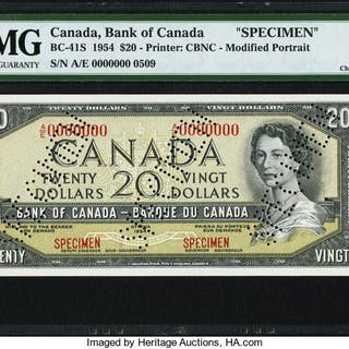 Canada Bank of Canada $20 1954 BC-41S Specimen PMG Choice Uncirculated 64. ...