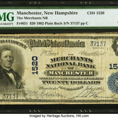 Manchester, NH - $20 1902 Plain Back Fr. 651 The Merchants NB Ch.