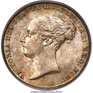 Victoria 6 Pence 1845 MS67 PCGS,...