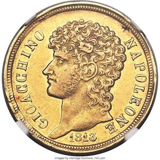 Naples & Sicily. Joachim Murat gold 40 Lire 1813 AU55 NGC,...