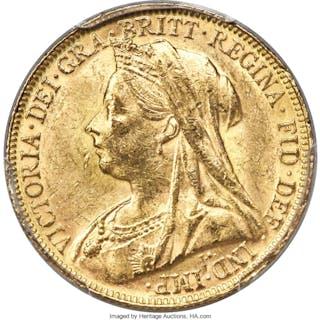 Victoria gold Sovereign 1899-P MS62 PCGS,...