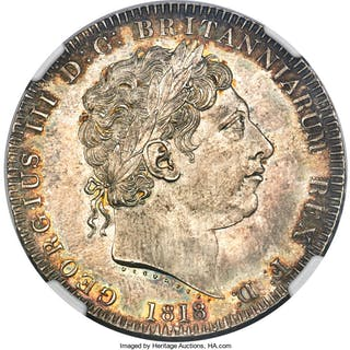 George III Crown 1818 MS63 NGC,...
