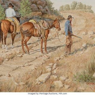 Gary Morton (American, b. 1951) Manhunt Watercolor on paper 9-1/4