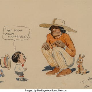 James Swinnerton (American, 1875-1974) Canyon Kiddies cartoon Ink