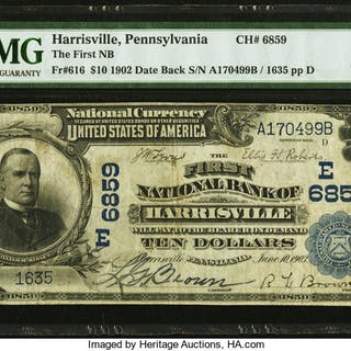 Harrisville, PA - $10 1902 Date Back Fr. 616 The First NB Ch. # (E)6859