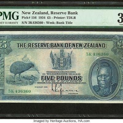 New Zealand Reserve Bank of New Zealand 5 Pounds 1.8.1934 Pick 156