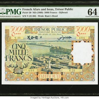 French Afars & Issas Tresor Public 5000 Francs ND (1969) Pick 30 PMG