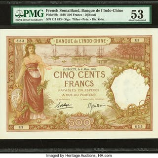 French Somaliland Banque de l'Indochine, Djibouti 500 Francs 1938