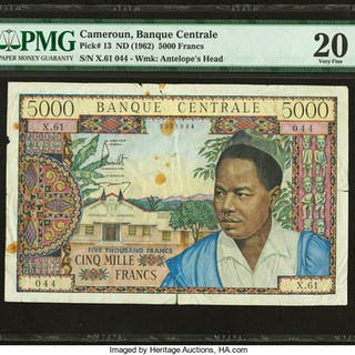 Cameroon Banque Centrale 5000 Francs ND (1962) Pick 13 PMG Very Fine 20. ...