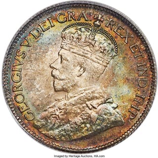 "George V ""Dot"" 25 Cents 1936 MS66 PCGS,..."