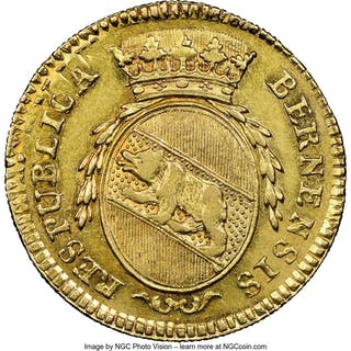Bern. City gold Duplone 1793 AU55 NGC,...