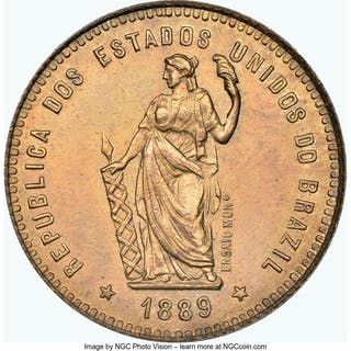 Republic copper Pattern 40 Reis 1889 MS65 Red and Brown NGC,...