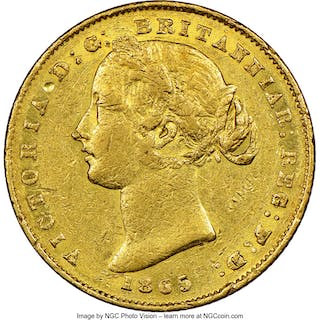 Victoria gold Sovereign 1865-(sy) AU53 NGC,...
