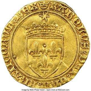 Charles VIII gold Ecu d'Or au Soleil ND (1483-1498) AU50 NGC,...