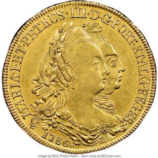 Maria I & Pedro III gold 6400 Reis 1786-R AU55 NGC,...