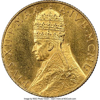 Pius XII gold 100 Lire Anno MCML (1950) MS64 NGC,...