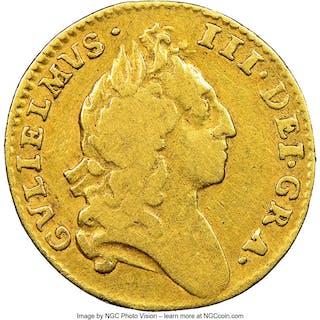 William III gold 1/2 Guinea 1695 F12 NGC,...