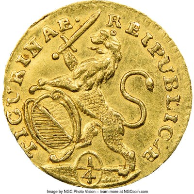 Zurich. Canton gold 1/4 Ducat 1761/58 MS62 NGC,...