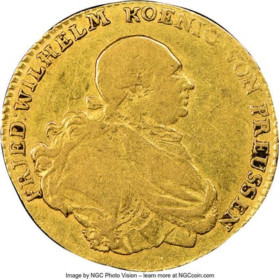 Prussia. Friedrich Wilhelm II gold Friedrich d'Or 1795-A F12 NGC,...