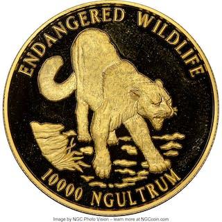 "Jigme Singye Wangchuk gold Proof ""Snow Leopard"" 10000 Ngultrums 1996"