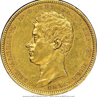 Sardinia. Carlo Alberto gold 100 Lire 1834 (Eagle)-P AU55 NGC,...