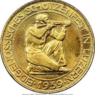 "Confederation gold ""Lucerne Shooting Festival"" 100 Francs 1939-B MS64 NGC,..."