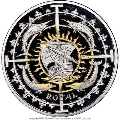 British Colony. Elizabeth II quad-metallic silver, platinum, gold