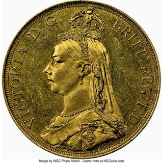 Victoria gold 2 Pounds 1887 MS62 NGC,...