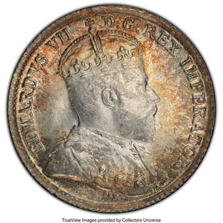 Edward VII 5 Cents 1902 MS66 PCGS,...