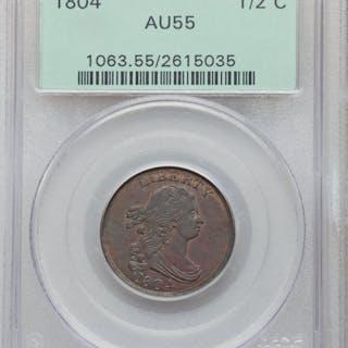 1804 1/2C Crosslet 4, Stems, C-9, BN, MS