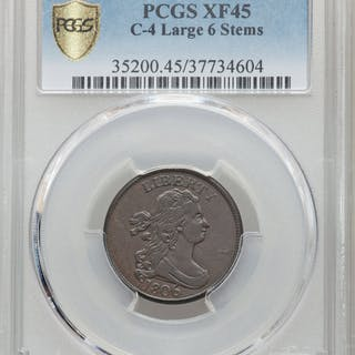 1806 1/2 C Large 6-Stems C-4, BN, MS