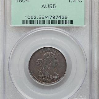 1804 1/2C Crosslet 4, Stems, C-10, BN, MS