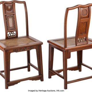 A Pair of Chinese Hongmu Hardwood Yoke-Back Chairs, late 19th century