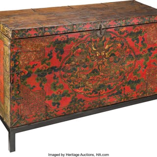 A Tibetan Painted Wood Chest, 18th - 19th century 29-3/4 x 56-3/4