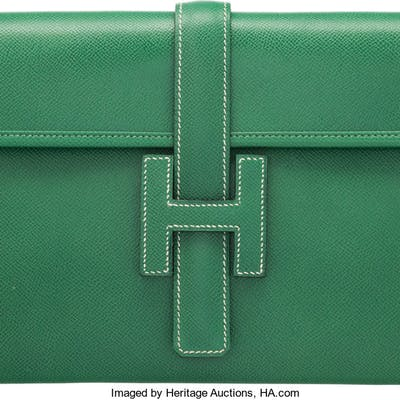 Hermès Vert Clair Epsom Leather Jige PM Clutch S Circle, 1989 Condition:
