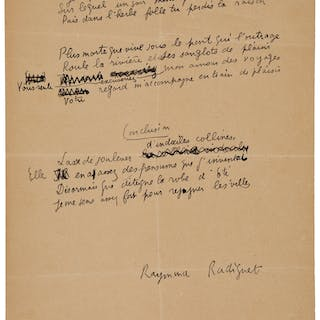 Raymond Radiguet. Three Autograph Manuscript Poems. ...