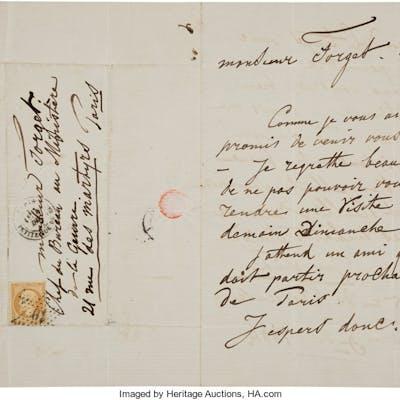 Johan Jongkind. Autograph Letter Signed. ...