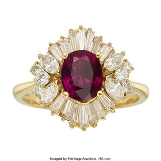 Ruby, Diamond, Gold Ring ...
