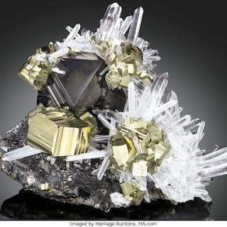 Pyrite, Quartz & Sphalerite Huaron Mines, Huaron Mining District