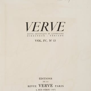 Henri Matisse. Inscribed copy of VERVE, 1945.  ...