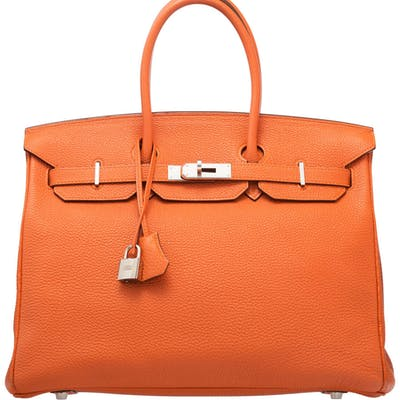 Hermès 35cm Orange H Togo Leather Birkin Bag with Palladium Hardware