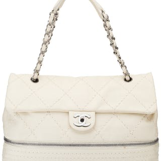 Chanel Ivory Quilted Lambskin Leather Large Expandable Flap Bag Condition:
