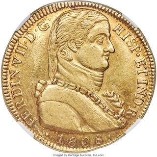 Ferdinand VII gold 8 Escudos 1808 So-FJ AU55 NGC,...