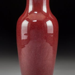 A Chinese Oxblood Porcelain Vase 8-7/8 x 4 inches (22.5 x 10.2 cm)  ...