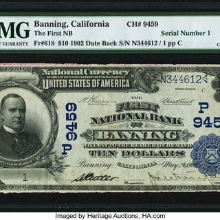 Banning, CA - $10 1902 Date Back Fr. 618 The First NB Ch. # (P)9459