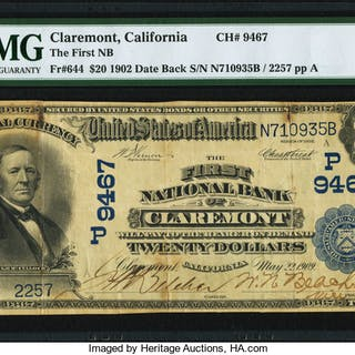Claremont, CA - $20 1902 Date Back Fr. 644 The First NB Ch. # (P)9467