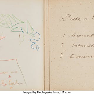 Jean Cocteau. Three Part Manuscript and the Limited Numbered Edition