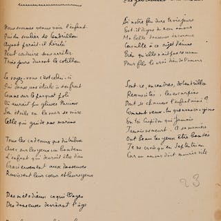 Raymond Radiguet. Album of print and manuscript poems. Twenty-three