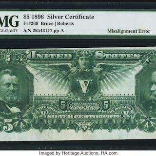 Fr. 269 $5 1896 Silver Certificate PMG Very Fine 25. ...